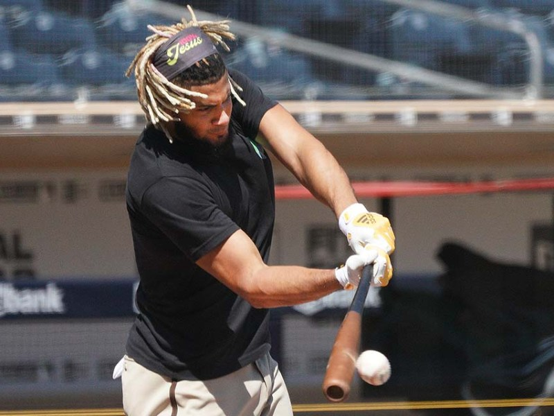 Padre Fernando Tatís Jr., connects with the ball during batting practice at Petco Park.