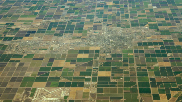 Fields surround El Centro in Imperial County