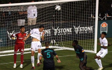LA Galaxy's Jesus Vazquez (No. 62) prevented the Loyal from scoring a goal.