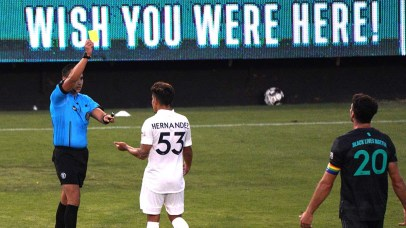 Galaxy player Jorge Hernandez received a yellow card in the second half of the match with San Diego Legion.