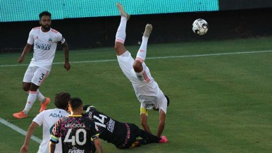 Loyal player Sal Zizzo does a flip as he went for the ball in a match against Las Vegas Lights.