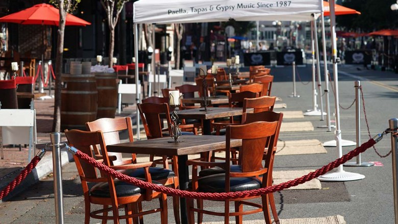 Restaurants in the Gaslamp on Fifth Avenue set up dining in the street.