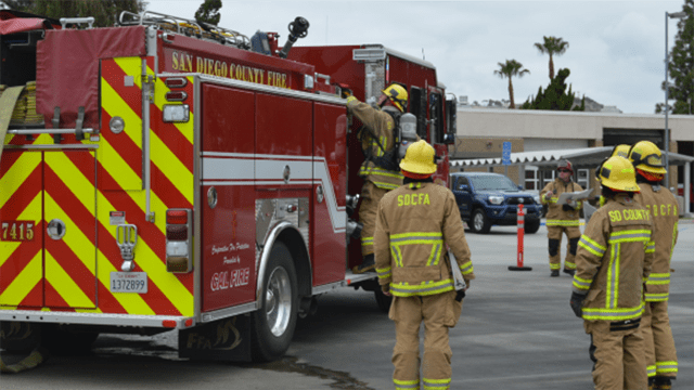 San Diego County Fire Authority equipment and personnel.