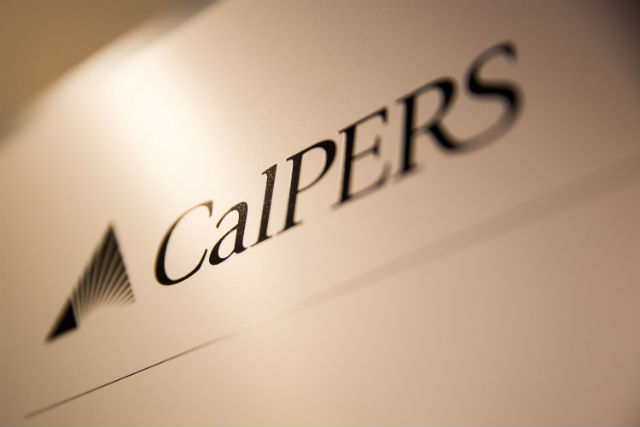A sign at CalPERS headquarters in Sacramento