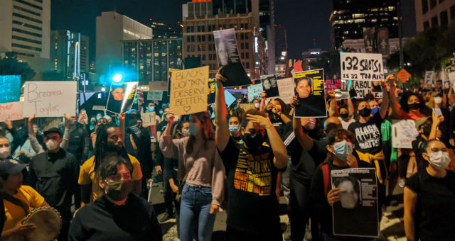 Protest in downtown San Diego