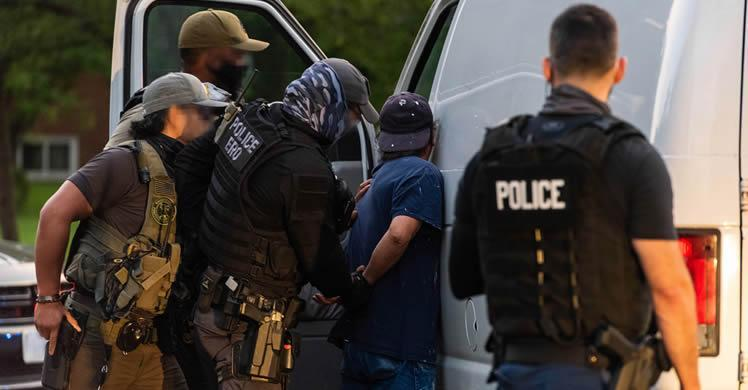 ICE officers arrest a suspect