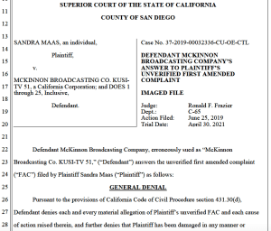 KUSI's answer to Maas' amended complaint. (PDF)