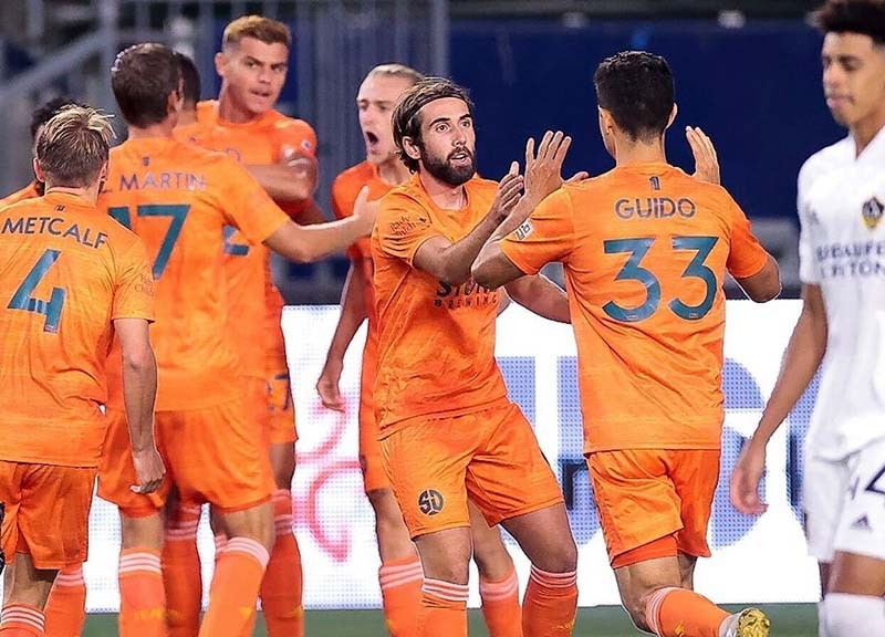 The San Diego Loyal Soccer Cub had a lot to celebrate as the team scored three goals to nil against Los Dos, Los Angeles Galaxy II Wednesday night in Carson.