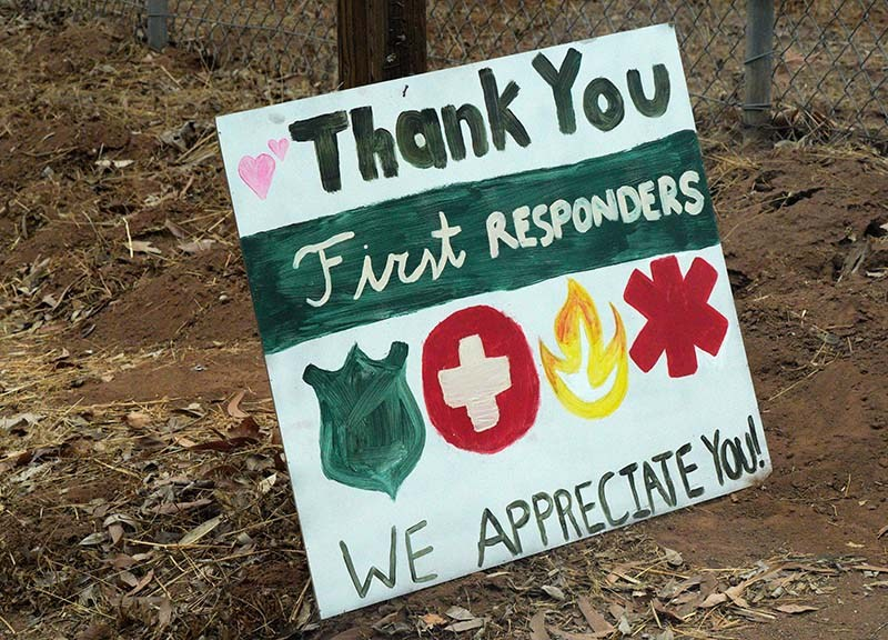 Backcountry residents placed thank-you signs along Japatul Road near Alpine.