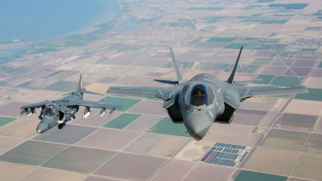 V-8B Harrier and F-35B Lightning II
