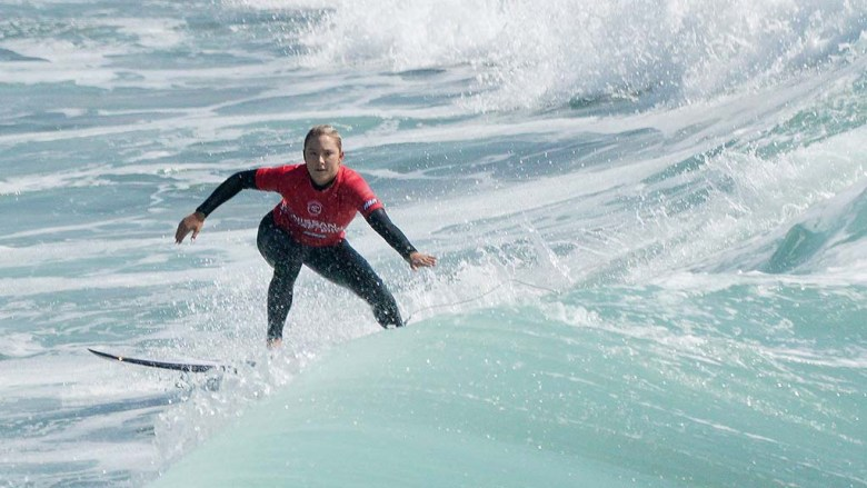 Alyssa Spencer of Encinitas competes in the semifinals during the Nissan Super Girl Surf Pro among Championship Tour (CT) competitors.