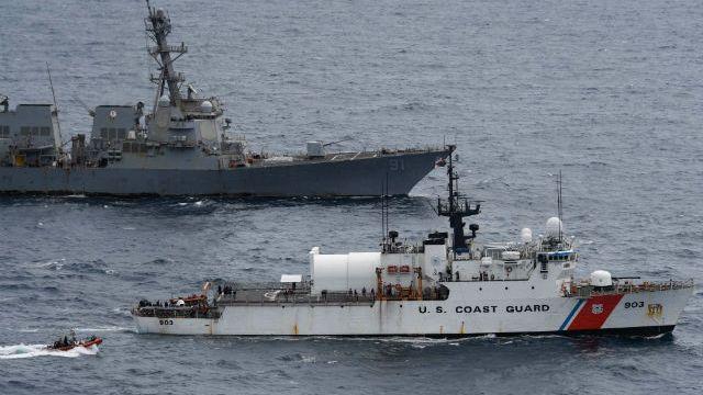 USS Pinckney and Coast Guard Cutter Larriet Lane