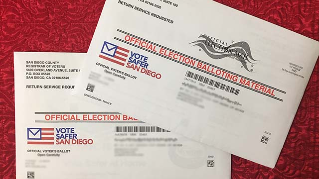Official mail ballots for November 2020 election sent by San Diego County Registrar of Voters Office.
