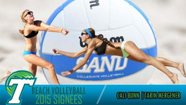 Cali Bunn (left), who also attended the University of Hawaii in Manoa, was hailed by Tulane for her volleyball talents.