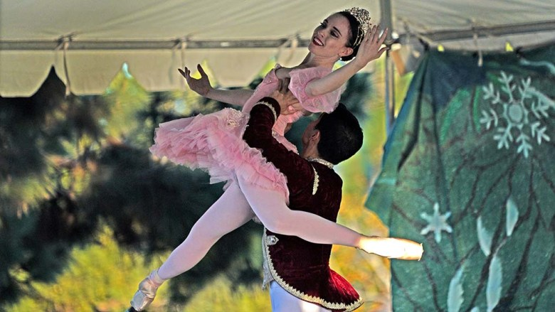 "Stephanie Maiorano and Tonatiuh Lopez Gomez dance as the Sugar Plum Fairy and Cavalier in ""Nutcracker"" at Liberty Station."