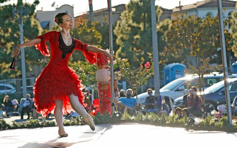 """Erin Mesaros performs in the drive-in performance of the """"Nutcracker"""" at Liberty Station."""