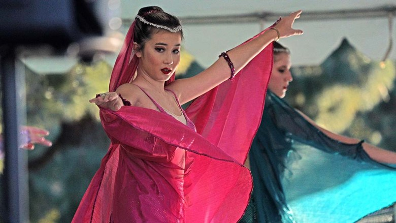 """Chloe Richman dances in the Arabian Corps portion of San Diego Ballet's """"Nutcracker,"""" which was moved to an outdoor performance."""