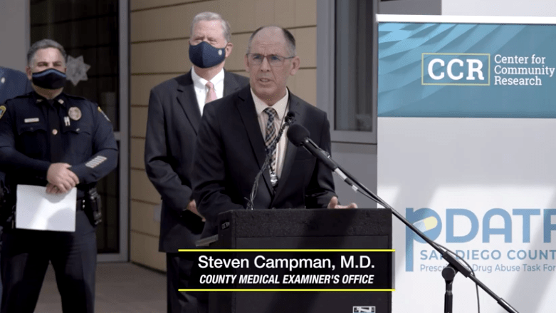 Dr. Steven Campman of the county Medical Examiner's Office at press conference on prescription drug-abuse report
