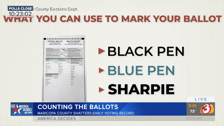 Video showing that Sharpie markers are OK to use on ballots.