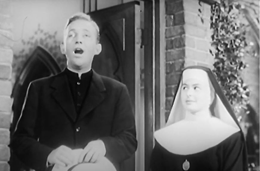 "Bing Crosby and Ingrid Bergman in ""The Bells of St. Mary's"""