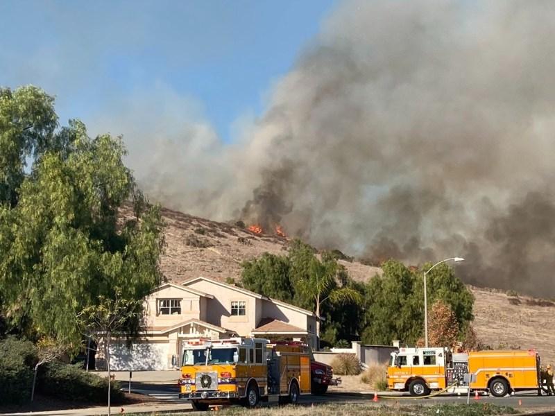 Hillside on fire.