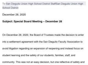 San Dieguito Union High School District letter following Dec. 28 board meeting. (PDF)
