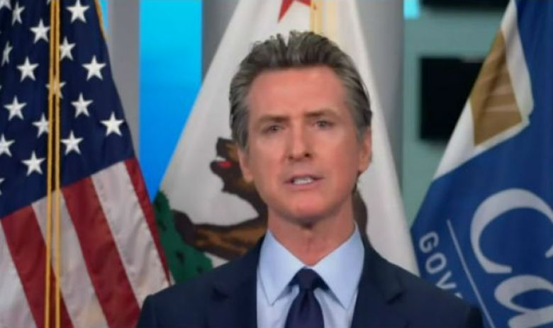 Gavin Newsom briefs press