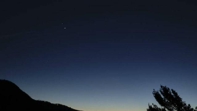 Jupiter and Saturn after sunset