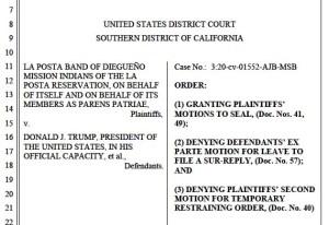 Judge Battaglia's orders in border wall case.