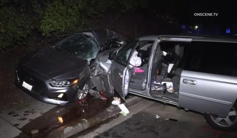 Wreckage of the minivan