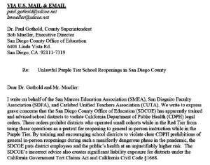 Letter from CTA to SDCOE