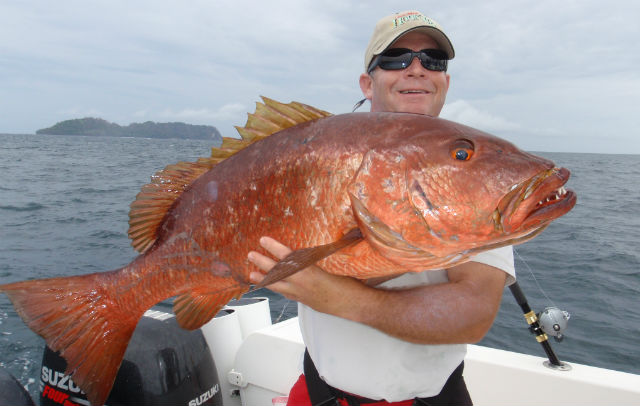 Peter Gray holding a 55-pound Cubera Snapper