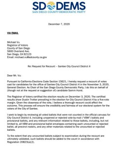 Letter requesting recount of Santee race. (PDF)