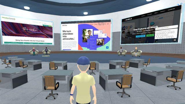 Entering a Virbela virtual meeting