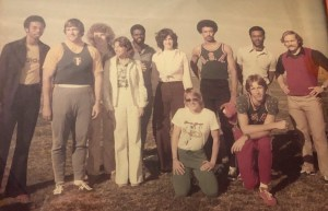 Arnie Robinson (standing, second from right) attended a 1974 coaching clinic put on by Patty Van Wolvelaere and Tracy Sundlun at MiraCosta College. Also pictured are (kneeling) Van Wolvelaere and high jumper Dwight Stones. Standing from left are sprinter Steve Williams, discus thrower John Powell, pole vaulter Steve Smith, distance runner Francie Larrieu, 400 hurdler Wes Williams, high jumper Cindy Gilbert, 110 hurdler Tommy Lee White and, after Robinson, shot putter Al Feuerbach.