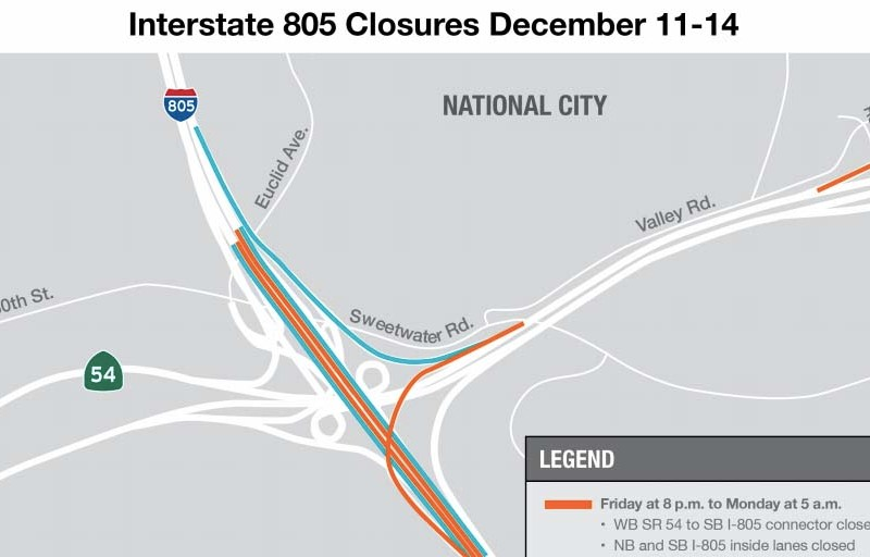 Map of temporary freeway closures.