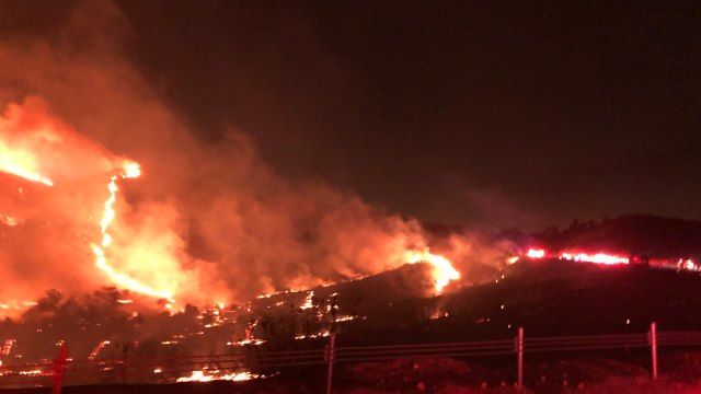 Creek Fire burns.