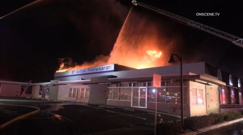 Burning shoe store