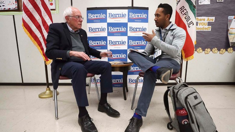 Charles T. Clark interviews Sen. Bernie Sanders, who visited San Diego in December 2019 as a presidential candidate.
