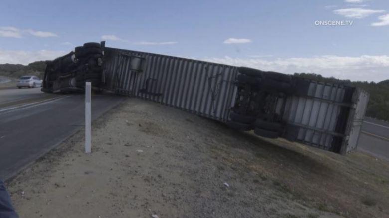 Big rig blown over
