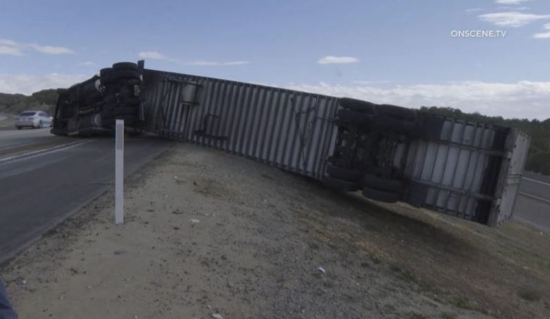 Big rig blown over