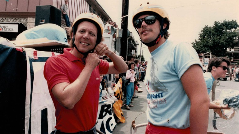 Tom Blair straps on his helmet for a ride with San Diego journalist Thomas K. Arnold, one of his San Diego Magazine contributors.