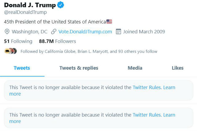 Trump's locked-out Twitter account