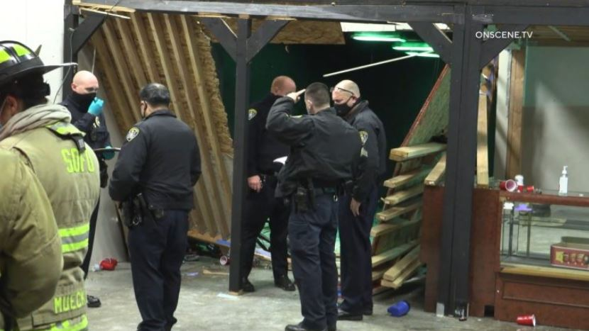 Police examine collapsed stage