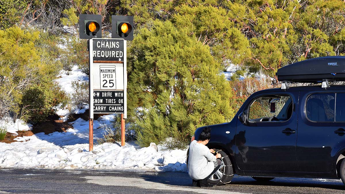 Sunrise Highway was plowed clear in most areas, but there were still patches of snow on the road, requiring chains on tires throughout the winter wonderland.
