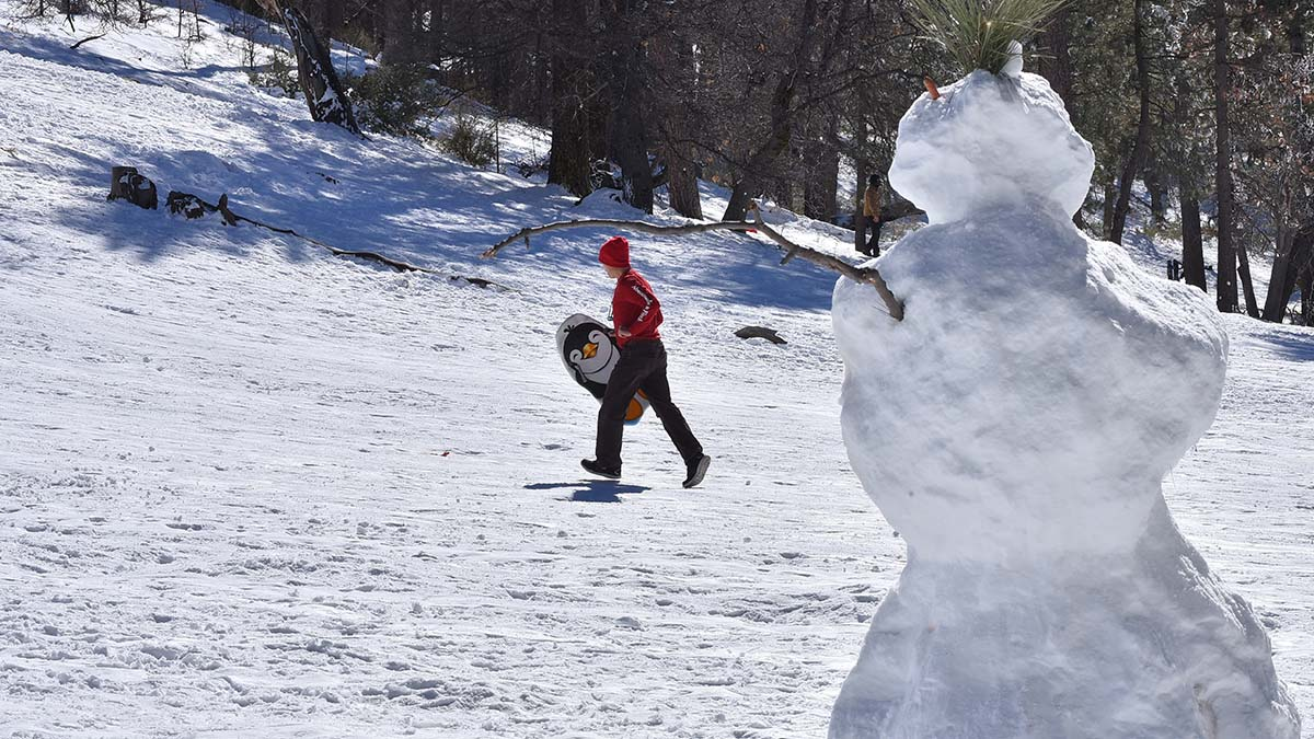 Hundreds of people took a midweek break between storms to enjoy the snow at Mt. Laguna.