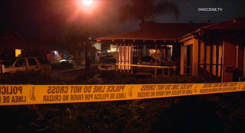 Police tape at the scene of the Carlsbad murder suicide