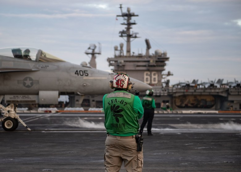 F/A-18E prepares to launch from the USS Theodore Roosevelt