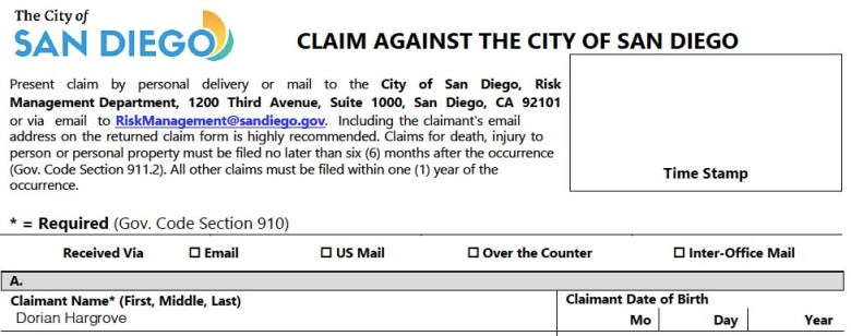 Dorian Hargrove claim against City of San Diego