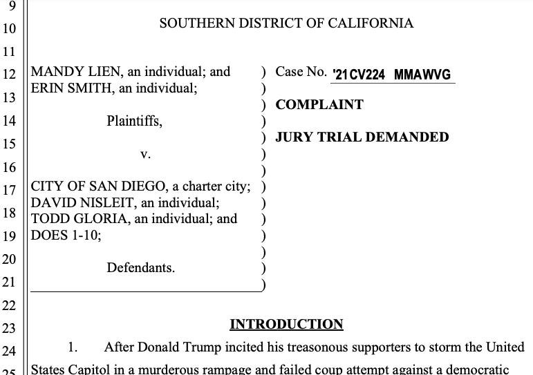Bryan Pease lawsuit over Jan. 9, 2021, pro-Trump rally in Pacific Beach
